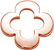 ažurový okrouhlý čtyřlístek z růžového zlata 1 cm