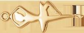 pozlacená plochá balerína 3 cm
