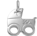 stříbrný kočárek 2 cm