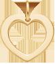 lemované srdce 1,5 cm ze žlutého zlata