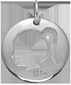 stříbrný medailon s dívkou 2 cm