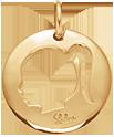 pozlacený medailon s dívkou 2 cm