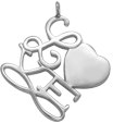 Stříbrné Love 2 cm