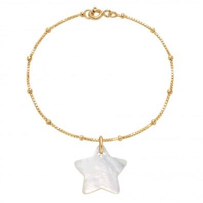 Náramek s hvězdičkou z perleti na pozlaceném řetízku Uzlíky