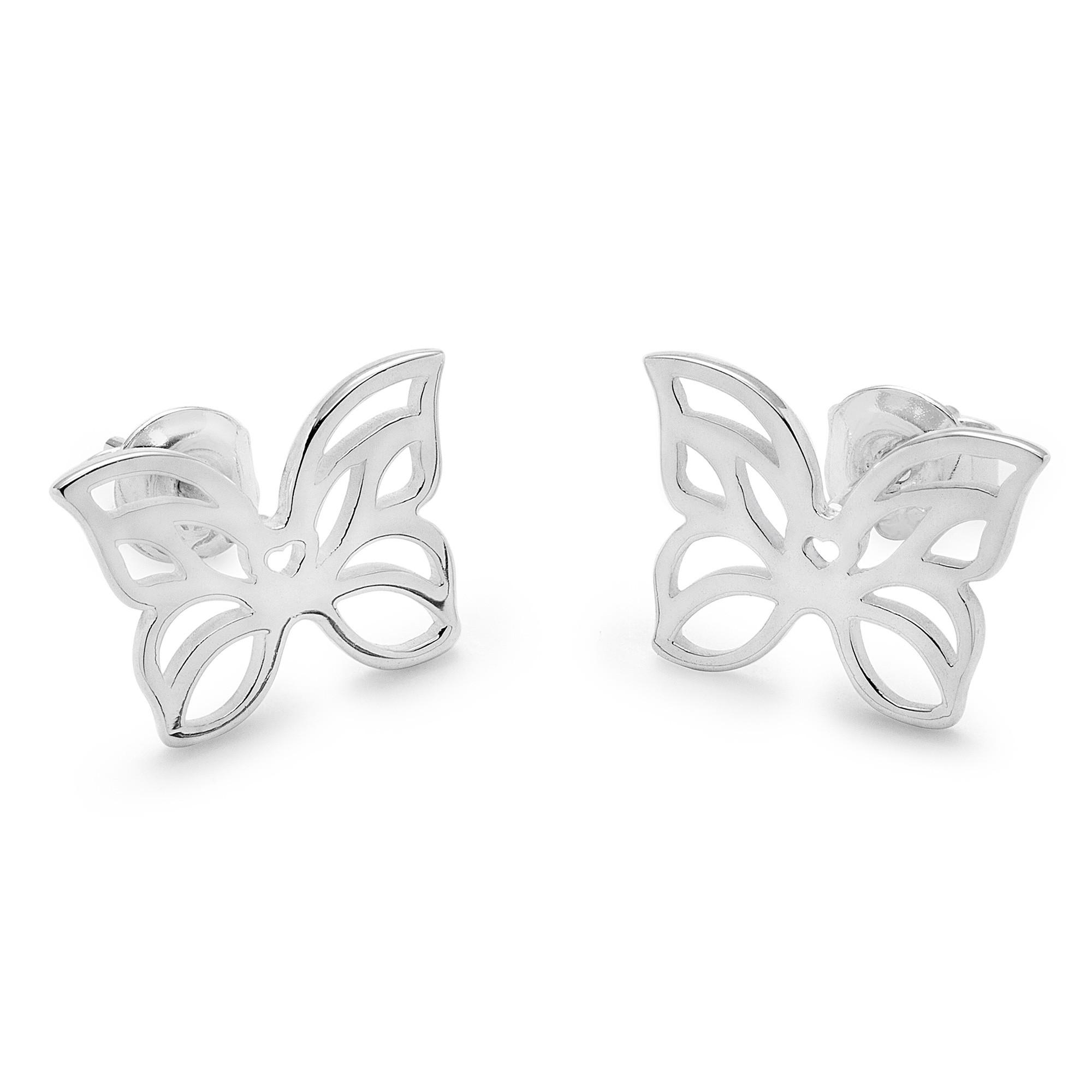 Stříbrné náušnice ažurové motýli