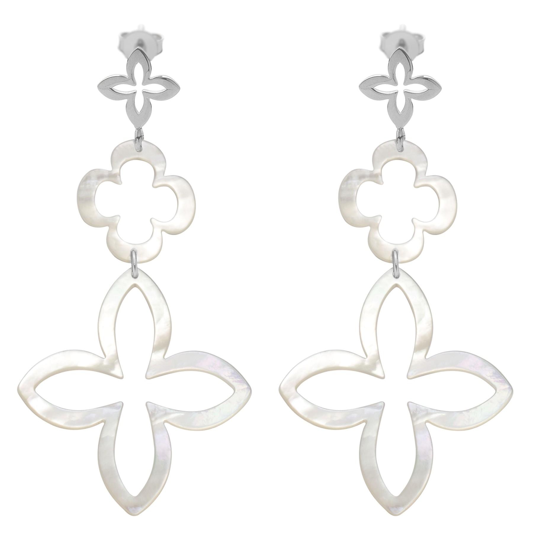 Sestavitelné náušnice z perleti se stříbrnou lilií