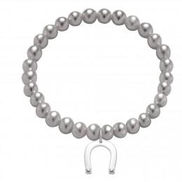 Náramek s pozlacenou podkovou na malých stříbrných perlách