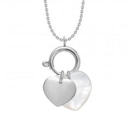 Náhrdelník s Lapačem emocí, stříbrným srdcem a perleťovým srdcem