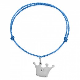 Náramek se stříbrnou korunou Princess na silném modrém provázku premium