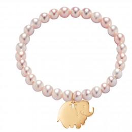 Náramek s pozlaceným slůnětem na malých růžových perlách