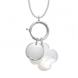 Náhrdelník s Lapačem emocí, stříbrným medailonkem a kulatým čtyřlístkem z perleti