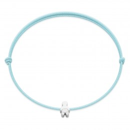 Bracelet with a silver Etincelle baby on a thin azure string
