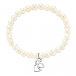 Náramek se stříbrným ažurovým andílkem na malých bílých perlích