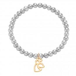 Náramek s pozlaceným ažurovým andílkem na stříbrných mini perlách