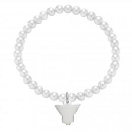 Náramek se stříbrným andílkem na bílých mini perlách