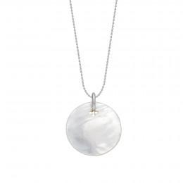 Náhrdelník s medailonem z perletě na tenkém klasickém řetízku