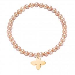 Náramek s pozlacenou lilií na růžových mini perlách