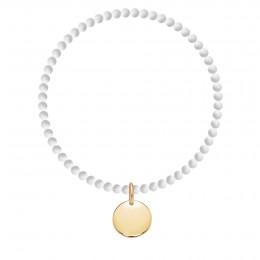 Náramek Venus mini  z přírodních kamenů s pozlaceným medailonem