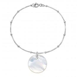 """Náramek s medailonem z perletě na řetízku """"uzlíky"""""""