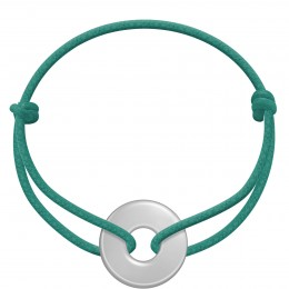 Náramek se stříbrným kroužkem na silném provázku v barvě mořské zeleně