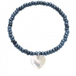 Náramek se srdcem z perleti na krystalizovaných opalizovaných granátových korálcích