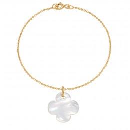 Náramek se zaobleným čtyřlístkem z perleti na tenkém klasickém pozlaceném řetízku