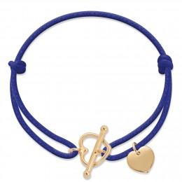 Náramek s pozlaceným zapínáním ve tvaru srdce a pozlaceným srdcem na silném chrpovém provázku