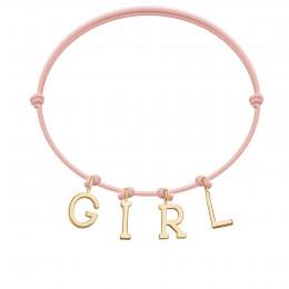 Náramek GIRL s pozlacenými písmeny na tenkém, světle růžovém provázku