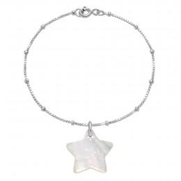 """Náramek s hvězdičkou z perletě na řetízku """"uzlíky"""""""