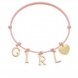 Náramek GIRL s pozlacenými  písmeny a srdcem na tenkém, světle růžovém provázku