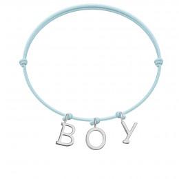 Náramek BOY s postříbřenými  písmeny na tenkém, modrém provázku