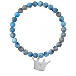 Náramek Neptune z přírodních kamenů se stříbrnou korunkou Princess