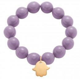 Náramek s pozlacenou Fátiminou rukou na křišťálových velkých fialových kuličkách