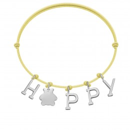 Náramek HAPPY s postříbřenými  písmeny a medvídkem na tenkém, žlutém provázku