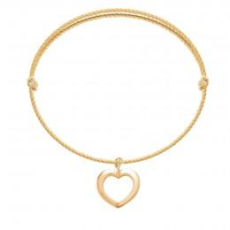 Náramek s ažurovým srdcem ze zlata ryzosti 585 na silném zlatém provázku premium