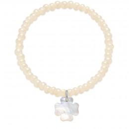 Náremek se čtyřlístkem z perleti na krystalizovaných opalizovaných perlových korálcích