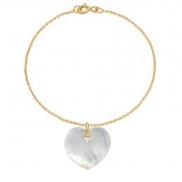Náramek se srdcem z perleti na tenkém klasickém pozlaceném řetízku
