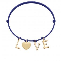Náramek LOVE s pozlacenými písmeny a srdcem na tenkém, tmavě modrém provázku