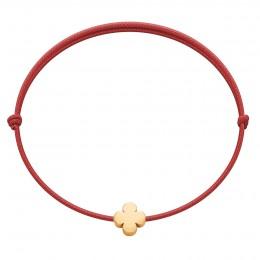 Náramek s pozlaceným kulatým čtyřlístkem Etincelle na tenké červené šňůrce