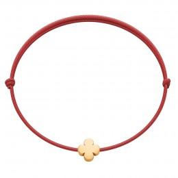 Náramek se zlatým kulatým Etincelle čtyřlístkem na červeném provázku