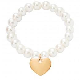 Náramek s pozlaceným srdcem na velkých bílých perlách