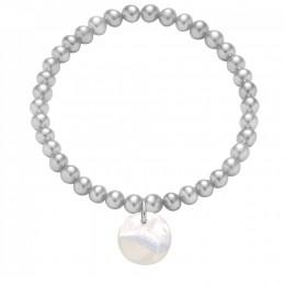 Náramek s medailonem z perleti na stříbrných mini perlách