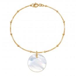 Náramek s medailonkem z perleti na pozlaceném řetízku Uzlíky