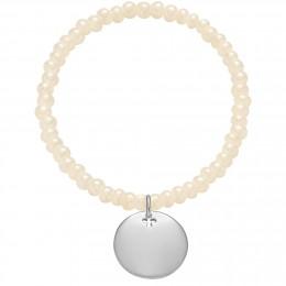 Náramek se stříbrným medailonkem na křišťálových, perleťových korálcích s opalizací