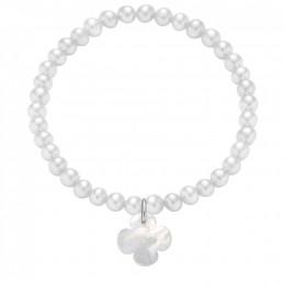 Náramek s oválným čtyřlístkem z na bílých mini perlách