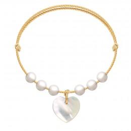 Náramek Pearl Love na zlatém provázku premium