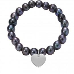 Náramek se stříbrným srdcem na velkých černých perlách