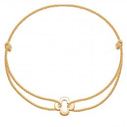 Náramek s ažurovým čtyřlístkem ze zlata ryzosti 585 na silném zlatém provázku premium