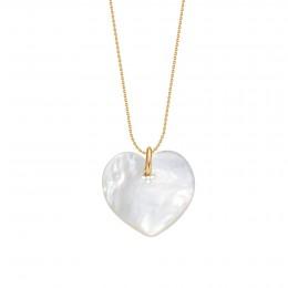 Náhrdelník se srdcem z perleti na tenkém pozlaceném řetízku