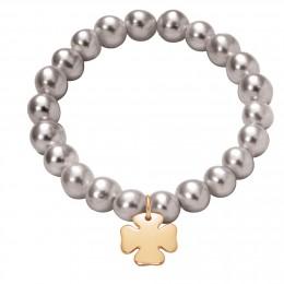 Náramek s pozlaceným čtyřlístkem na velkých stříbrných perlách